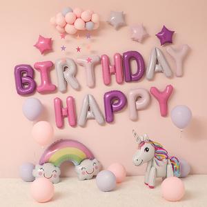 女孩周歲生日趴體布置 一歲寶寶 兒童主題派對背景墻裝飾氣球套餐
