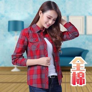 2021春夏新款韓版寬松格子襯衫女長袖純棉百搭外穿打底衫大碼女裝