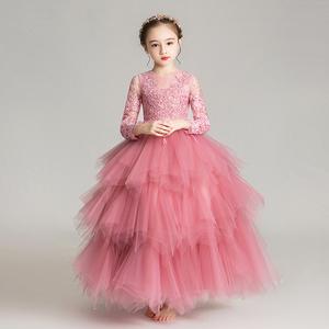兒童禮服公主裙小花童蓬蓬紗女童生日模特表演走秀演出服長袖秋冬