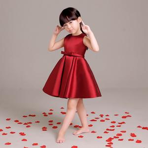 新款儿童礼服女童公主裙女花童婚纱裙短款酒红色蓬蓬裙连衣裙洋气