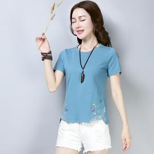 夏天中年妇女人穿的纯棉短袖T恤30-35-40-45到50岁妈妈装全棉汗衫