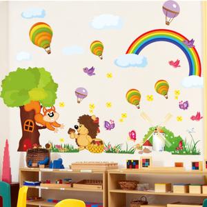 幼儿园卡通动物儿童房宝宝房间教室布置装饰贴纸玻璃门窗双面贴画