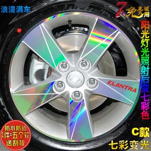 浪漫滿車 專用于現代12-14款朗動輪轂貼紙 改裝 電鍍輪胎圈保護膜