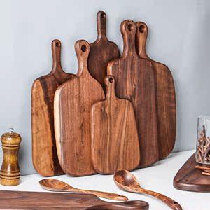 日式黑胡桃木砧板家用实木切菜板创意面包板披萨板木?#20449;?#27700;果案板
