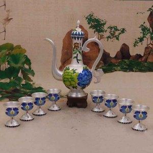 99純銀景泰藍牡丹花酒具套裝足銀喜鵲蘭花小酒杯酒壺一套送禮
