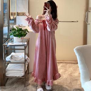 性感睡衣女士春秋冬季珊瑚绒加厚保暖韩版长袖法兰绒长款睡裙冬天