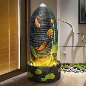 室内风水球流水喷泉摆件时来运转客厅办公摆设落地风水轮开业礼物