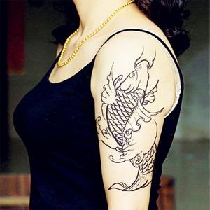 淘宝半臂线条鲤鱼纹身贴防水男刺青 鲤鱼 仿刺青 中国风 原创新品男女