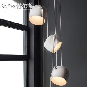 北歐創意客廳吊燈現代簡約復式樓梯造型個性設計師餐廳臥室小鼓燈