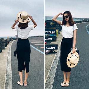 韓國春夏甜美彈力開叉包臀裙半身長裙女高腰包裙黑色一步裙半身裙