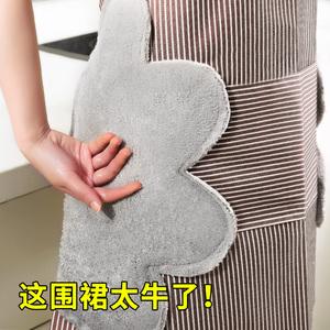 家用可擦手圍裙廚房防水防油 大人男女時尚做飯罩衣日系圍腰可愛
