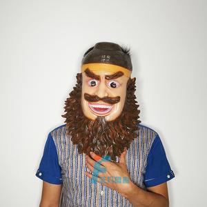 万圣节cos卡通三国半脸大胡子笑脸张飞面具成人可爱搞笑乳胶头套