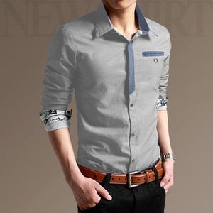 男士衬衫长袖春秋季韩版潮流帅气休闲青年牛仔短袖衬衣服男装上衣