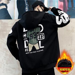 男士外套秋冬季韩版潮流百搭休闲学生牛仔加绒夹克男装棒球上衣服
