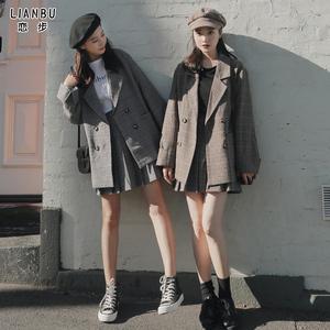 職業格子小西裝套裝女時尚洋氣韓版英倫風休閑西服初秋氣質小香風