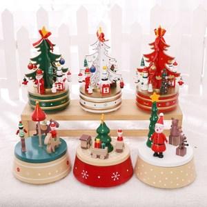 禮物實用圣誕情侶組裝機芯浪漫老式男生木制麋鹿木質拼裝音樂盒