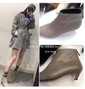 韩国产 手工鞋 洋气大象灰 矮帮显腿长真皮中跟短靴 好穿不累好配
