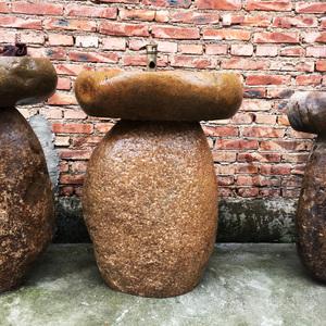 天然鵝卵石立柱盆石頭立柱盆戶外一體洗手盆柱盆落地立柱式洗臉盆