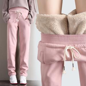 羊羔绒运动裤冬季女超厚加绒卫裤仿棉裤宽松加厚外穿直筒保暖裤子