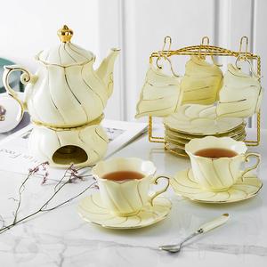 花茶杯套裝歐式下午茶茶具家用陶瓷耐熱玻璃煮水果蠟燭可加熱茶壺