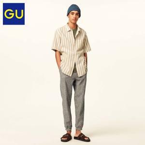 GU极优男装麻混纺衬衫(短袖)(条纹)商务休闲衬衫男夏季百搭314378