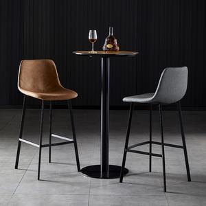 北歐吧臺凳現代簡約酒吧椅高腳家用凳靠背前臺接待輕奢鐵藝吧臺椅