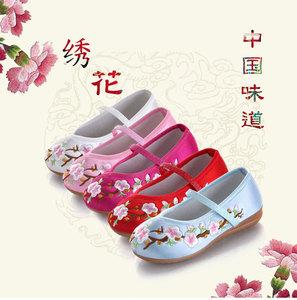 儿童老北京布鞋女童绣花鞋春秋民族风学生舞蹈表演出鞋古装汉服鞋