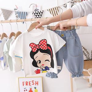 女寶寶夏裝2020新款韓版兒童卡通短袖套裝中小童洋氣牛仔褲兩件套