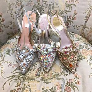 蕾絲高跟鞋涼鞋rc單鞋婚鞋尖頭女鞋新娘代購水鑽中跟