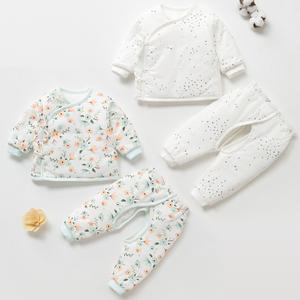 新生兒秋冬季薄棉衣03個月寶寶保暖衣服夾棉初生嬰兒加厚薄棉套裝