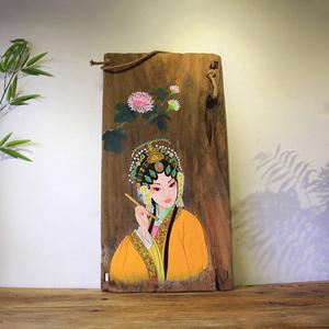 漆画风化木板画壁画挂画中式手绘香樟木板画创意墙面装饰挂件包邮