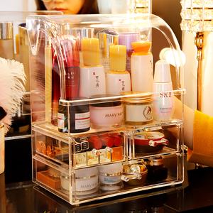 化妝品收納盒防塵抽屜式桌面口紅網紅梳妝帶蓋亞克力護膚品置物架
