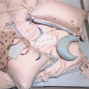 粉色小清新60s埃及长绒棉床品 公主风蝴蝶结五角星刺绣拼色四件套