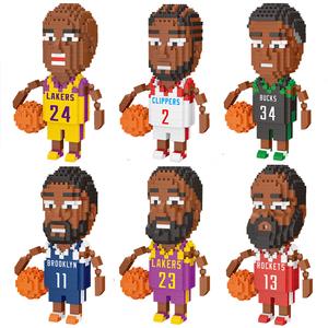 篮球NBA全明星科比詹姆斯兼容乐高球星拼装积木小人仔成人小颗粒