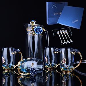 欧式珐琅彩水杯水壶套装创意花茶杯家用耐热玻璃杯茶杯子实用礼品