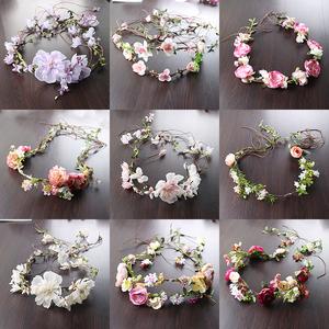 韓式新娘花環藤條發帶結婚頭飾頭花伴娘發飾婚紗配飾拍照飾品包郵