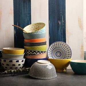 创意个性陶瓷碗隔热欧式浮雕餐具 家用汤碗米饭碗甜品碗拉面碗6寸