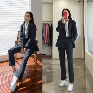 休闲西装套装女2019秋冬新款韩版时尚显瘦职业小西服外套两件套潮