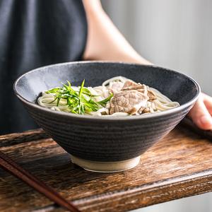 日式复古拉面碗喇叭碗泡面碗怀旧老式汤碗陶瓷家用喝汤用装菜文艺