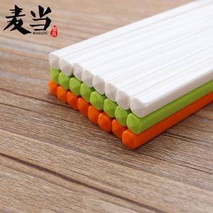 密胺酒店筷子食堂餐厅饭店塑料筷子彩色密胺仿瓷筷子10双装家用筷