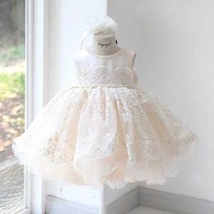 女童公主裙蓬蓬紗蕾絲小花童禮服兒童韓版主持人演出服生日晚禮服