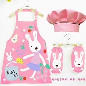 三件套装2019儿童洗碗围裙防水厨房小孩一年级小朋友画画衣幼童