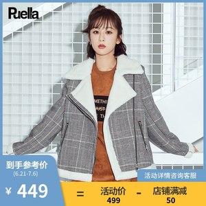 格子短款毛呢外套女冬装2018年秋新款韩版斗篷小个子呢子大衣外穿