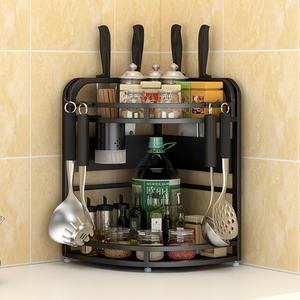 不銹鋼三角架廚房置物架廚房用具扇形灶臺調味品調料轉角收納架子