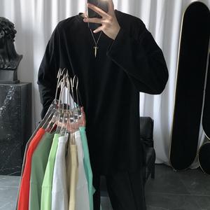 短句先生自制款純色開叉t恤男秋季韓版潮流內搭長袖純棉打底衫