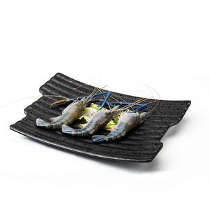 黑色水滴喷点磨砂创意密胺仿瓷火锅餐具异形盘子烧烤盘塑料寿司盘
