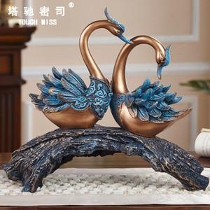TOUCH MISS創意天鵝擺件臥室客廳裝飾品結婚禮物送禮家居工藝品