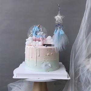 独角兽蛋糕装饰摆件捕梦网铁艺爱心星星流苏插件浪漫生日情侣插牌