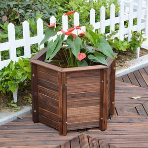 户外碳化防腐木制六角花盆木花盆 花器花箱花桶种花盆种菜盆