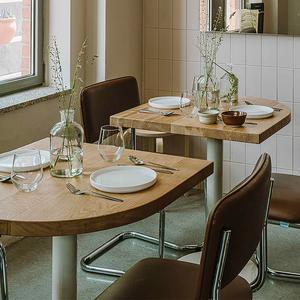 北歐風簡約實木圓桌子肯德基小方桌ins咖啡廳餐桌椅組合奶茶飯店
